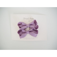 Lilac Clip Bow - Small Piggy Tail Pair