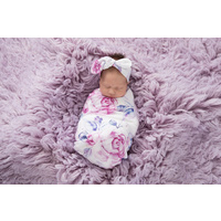 Lilac Skies I Baby Jersey Wrap & Topknot Set