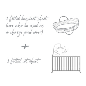 2 Pack | Fitted Cot & Bassinet Sheet / Change Pad Cover