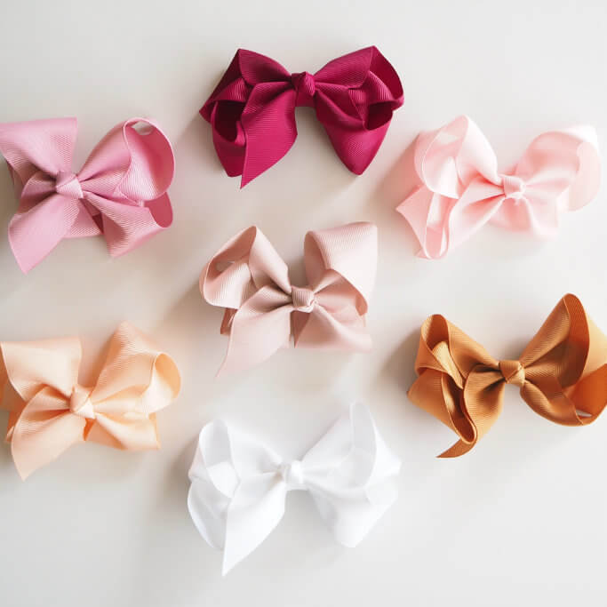 3 Pack I Large Grosgrain & Satin Bow Clips