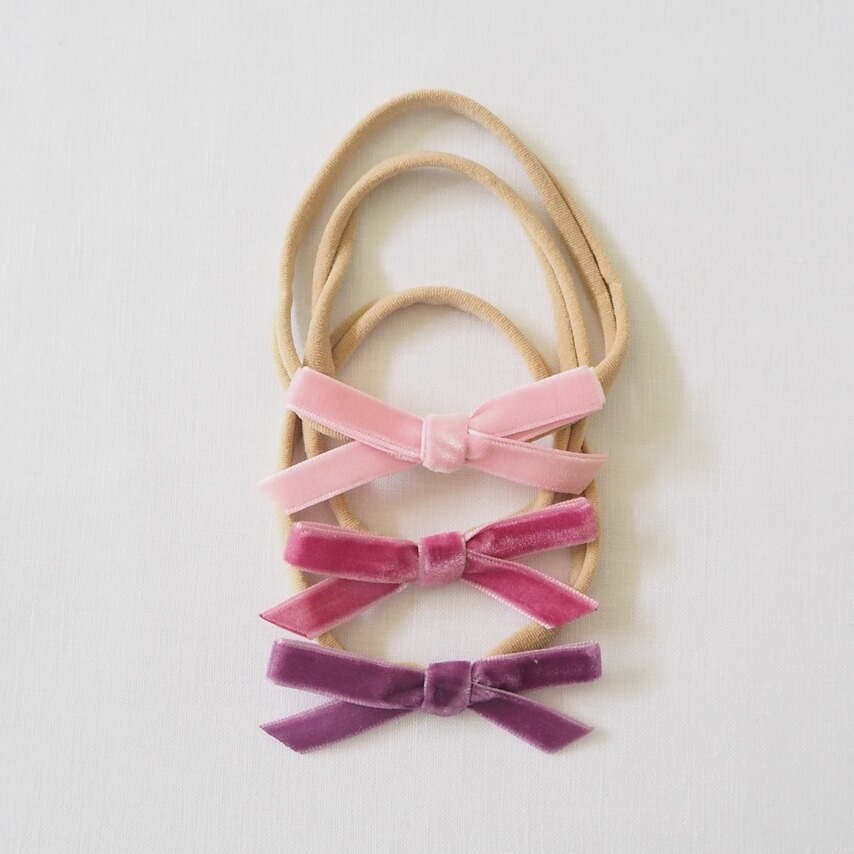 Grape, Rose Pink, Mauve 3 Pack Velvet Bow