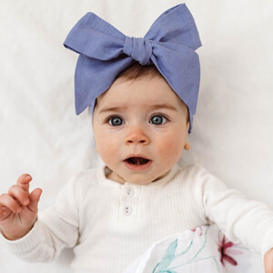 Lavender Blue Linen Bow Pre-Tied Headband Wrap