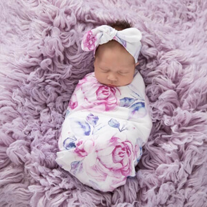 Lilac Skies I Snuggle Swaddle & Topknot Set