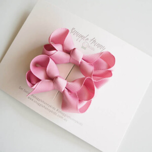 Dusty Pink Clip Bow - Small Piggy Tail Pair