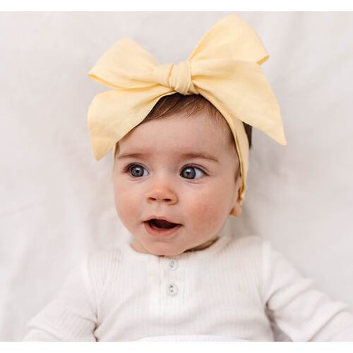 Lemon Linen Bow Pre-Tied Headband Wrap
