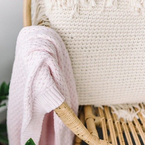 Blush Pink I Diamond Knit Baby Blanket