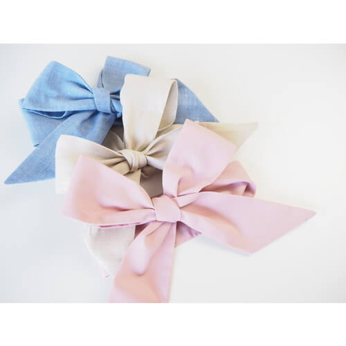Chambray, Natural & Dusty Pink Bow Headband Wraps 3 PACK