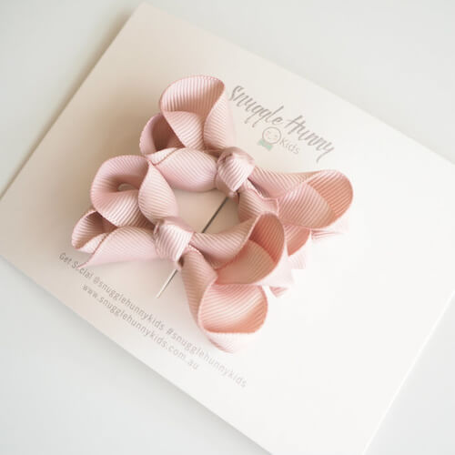 Nude Clip Bow - Small Piggy Tail Pair