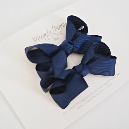 *New Navy Blue Clip Bow - Small Piggy Tail Pair