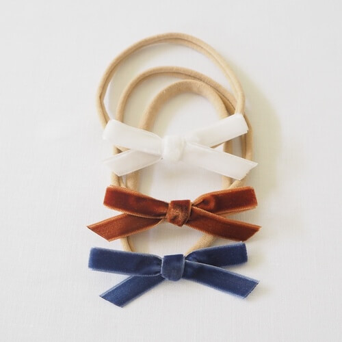 Toffee, White & Moonlight Blue 3 Pack Velvet Bow